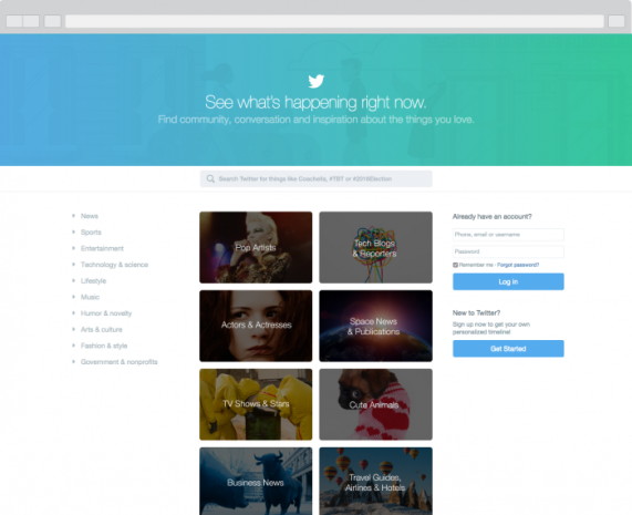 Twitter homepage redesign